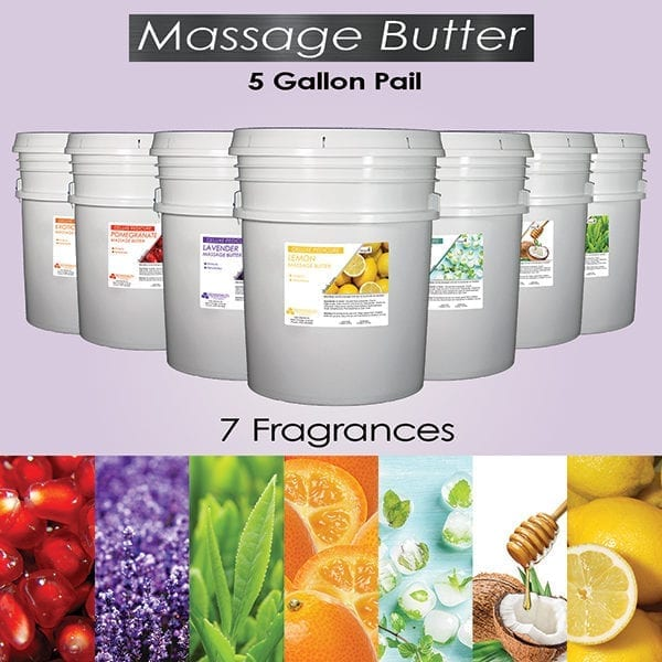 Massage butter picture of 5 gallon pails.